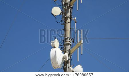 Cell Telecom Tower with Antennas And Moon