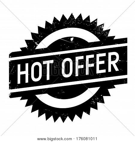 Hot offer stamp. Grunge design with dust scratches. Effects can be easily removed for a clean, crisp look. Color is easily changed.