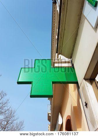 Pharmacy Neon Sign. Pharmacy store in France