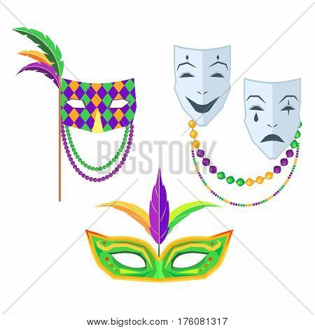Mardi Gras. Set of masks green with feathers, pattern with beads and feathers and mask that consists of two with contrast emotions on white background. Carnival elements vector illustration.