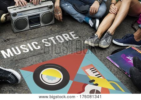 Group of people listening to leisure music activity
