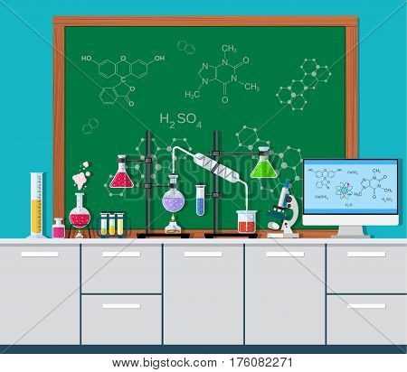Laboratory equipment, jars, beakers, flasks, microscope, scales, spirit lamp on table. Agenda board. Biology science education medical vector illustration in flat style