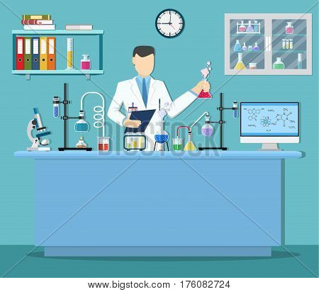 Laboratory assistant with test tube. Medical Laboratory. Research, testing, studies in chemistry, physics, biology. laboratory equipment. Vector illustration in flat style