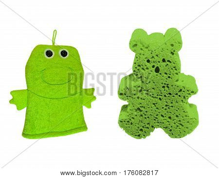 Green washcloth and wash sponge for children