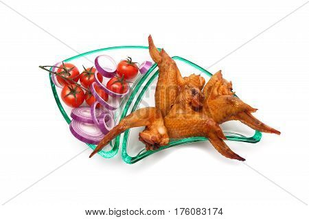 smoked chicken wings and tomatoes on a white background. horizontal foto.