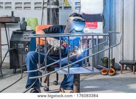 The Making sure he's protected while welding