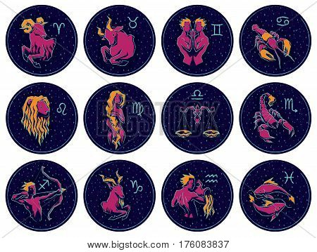 Collection of All Zodiac Signs. Vector illustration of Zodiac Signs on Night Starry Sky Background. Aries, Taurus, Gemini, Cancer, Leo, Virgo, Libra, Scorpio, Sagittarius, Capricorn Aquarius Pisces
