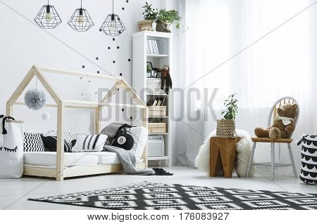 Bedroom With Wood Bed