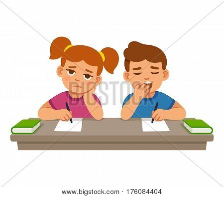 Bored kids at school lesson boy and girl. Cute cartoon vector illustration.