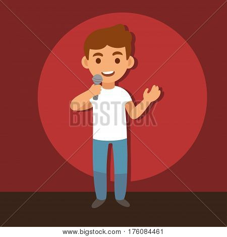 Ypung stand up comedian with microphone on stage background cartoon vector illustration.