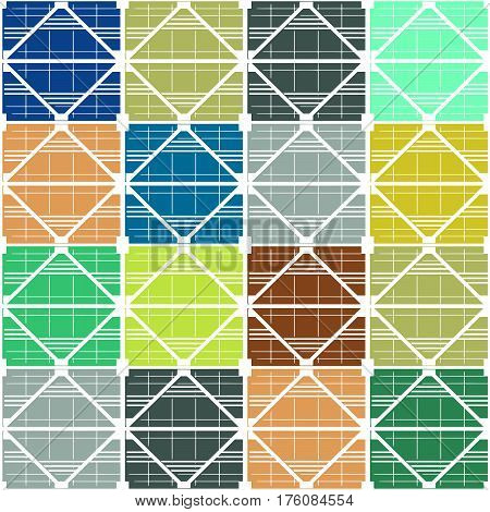 Seamless vector texture, pattern on the subject of industrial architecture. The white frame of the supporting trusses. Multicolor  filling of cells.