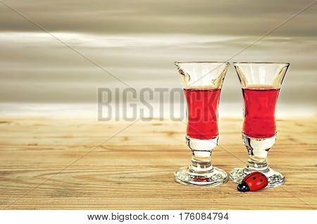 Two glasses of liquor on wooden table