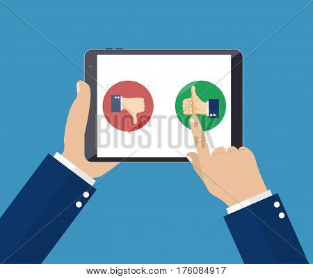 Rating on customer service illustration. Website rating feedback and review concept. illustration in flat style