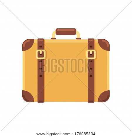 Old vintage suitcase with leather belts isolated vector illustration in flat cartoon style.