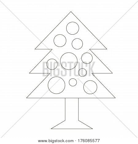 Fur Tree cartoon. Outlined object with black stroke.