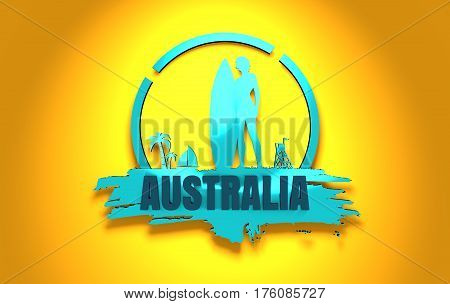 Woman posing with surfboard on grunge brush stroke. Metallic material silhouette. Vintage Surfing Graphic and Emblem. Palm and lifeguard tower on backdrop. Australia text. 3D rendering