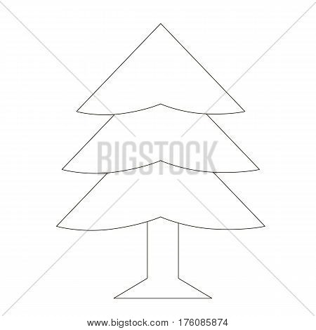 Evergreen Tree cartoon. Outlined object with black stroke.