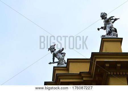 Detail at the roof of Croatian National Theater in Zagreb, Croatia