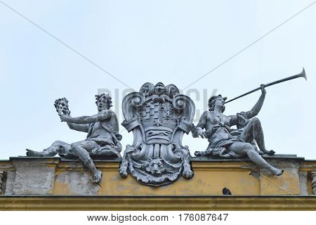 Detail at building of Croatian National Theater in Zagreb, Croatia