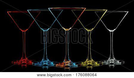 Silhouette of multicolor martini glass with on black background.