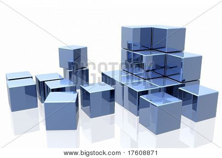 blue cubes isolated over white background