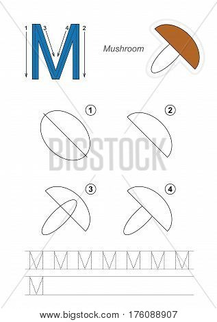 Vector illustrated alphabet with kid educational games to learn handwriting with easy game level for preschool children, kid drawing tutorial for letter M. Mushroom.