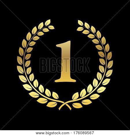 Golden Laurel Wreath. Award for winners. Honoring champions. Sign for 1st place. Trophy for challenge. Symbol of victory and achievements. Vector illustration. Design element for posters decoration.