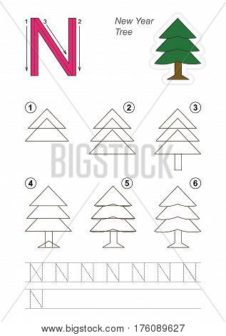 Vector illustrated alphabet with kid educational games to learn handwriting with easy game level for preschool children, kid drawing tutorial for letter N. New Year Tree.
