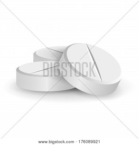 White 3D Medical Pills Or Drugs Vector Illustration. Tablets Set In Different Positions Isolated On White Background. Vitamin And Painkiller