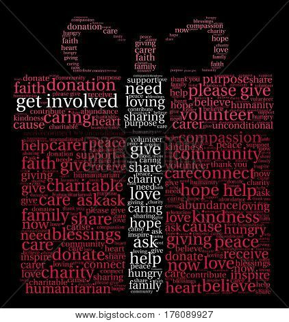 Get Involved word cloud on a black background.