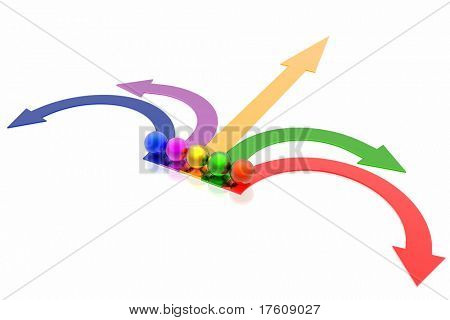 colorful arrows isolated in white background
