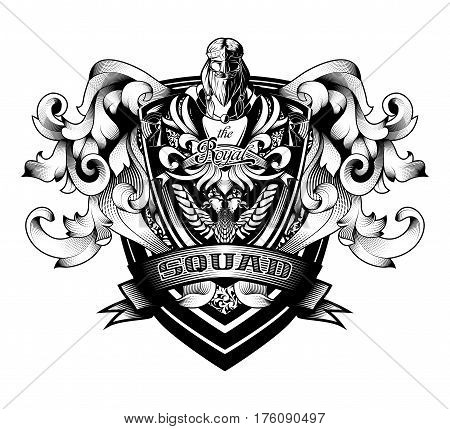 Ornamental Baroque Heraldry Crest Coat Arms Premium Shield