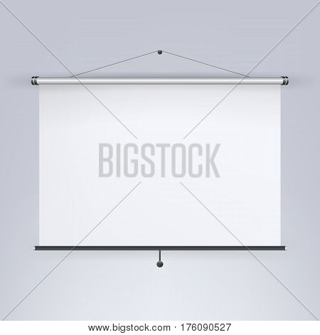Meeting Projector Screen Vector. Blank White Board, Presentation Display