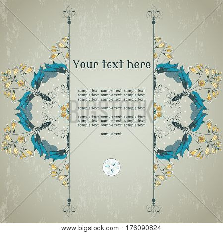 Vector card. Round vector floral pattern on vintage plaster background. Hosta and lacewing. Place for your text.