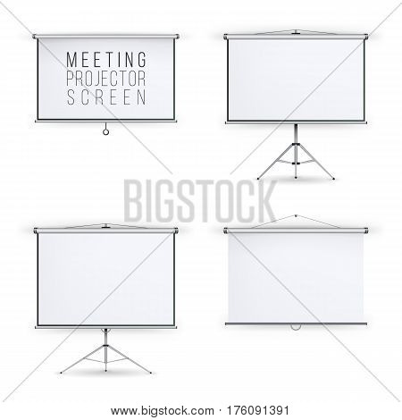 Meeting Projector Screen Vector Set. White Board Presentation Conference With Tripod And Hanging. Empty White Board Presentation And Showing Your Project
