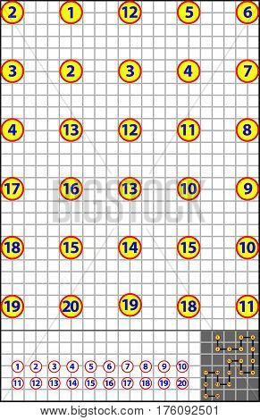 Logic puzzle on a square paper. Find the way how to join numbers from 1 to 20 by vertical or horizontal line.
