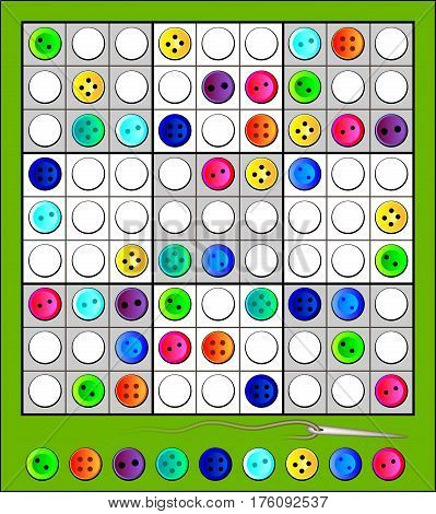 Logic Sudoku puzzle game with funny buttons. Vector image.