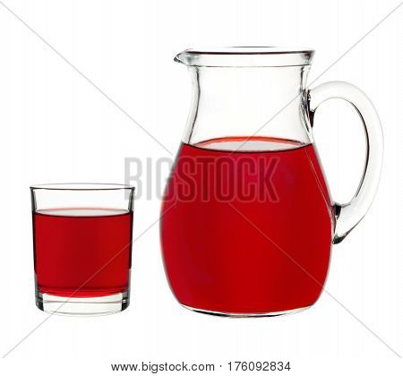 red currant drink in a glass and decanter on a white background