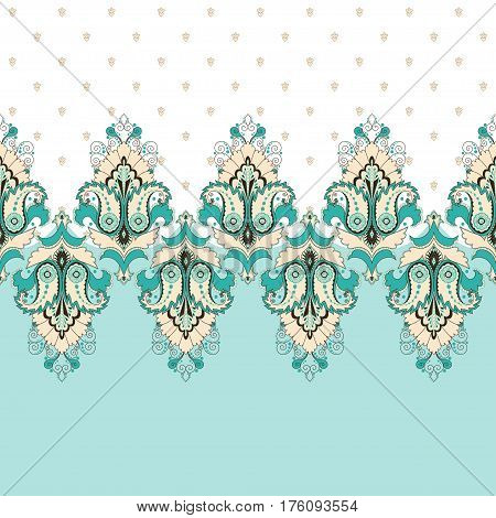 Simple vector background and border. Oriental floral pattern and decorative items. Ample opportunities for use. Easily edit the colors.