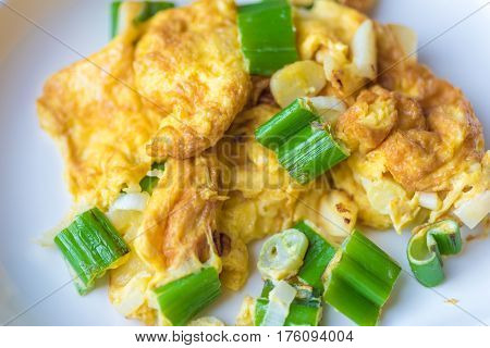 The Thai Style Omelet Mixed With Japanese Onion  Bunch Serve With Japanese Rice