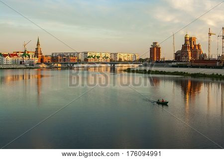 background panorama view of the waterfront of the city of Yoshkar-Ola, Mari El, Russia