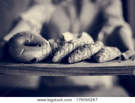 People Hands Hold Wooden Tray Present Fresh Baked Bakery