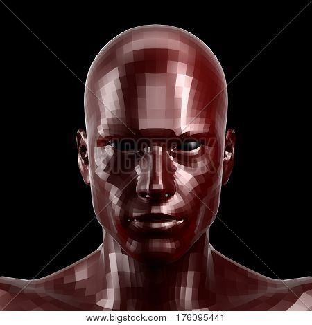 3D rendering. Faceted red robot face with black eyes looking front on camera.. Isolated on black background