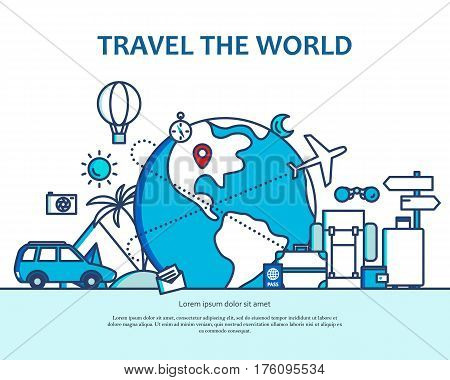 Modern flat thin line monocrome blue design vector illustration, concept of travelling around the world, journey and trip to other countries, for graphic and web design