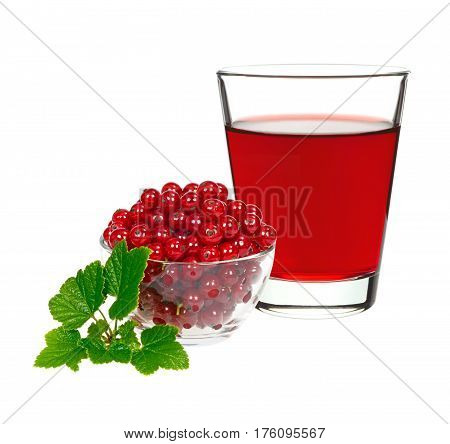 red currant drink in a glass with berries currants on a white background