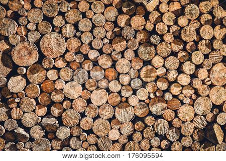 Pile Or Stack Of Natural Fire Wood Logs Texture Background.
