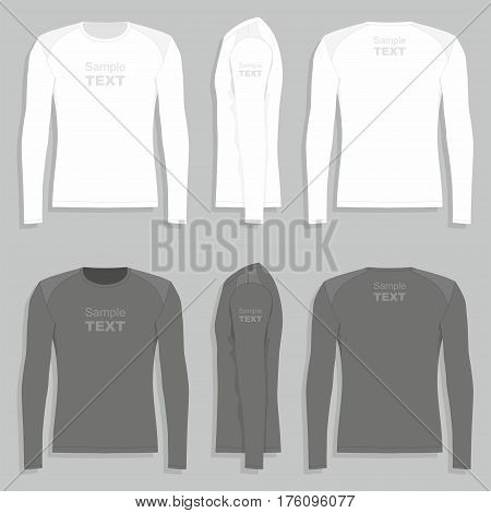 Men's long sleeve t-shirt (front view, back and side views)