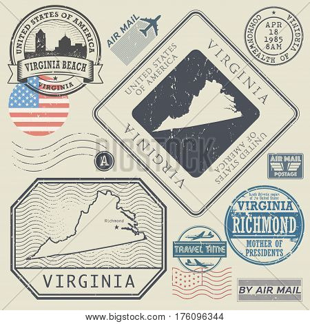 Retro vintage postage stamps set Virginia United States theme vector illustration