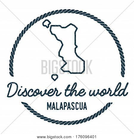 Malapascua Island Map Outline. Vintage Discover The World Rubber Stamp With Island Map. Hipster Styl