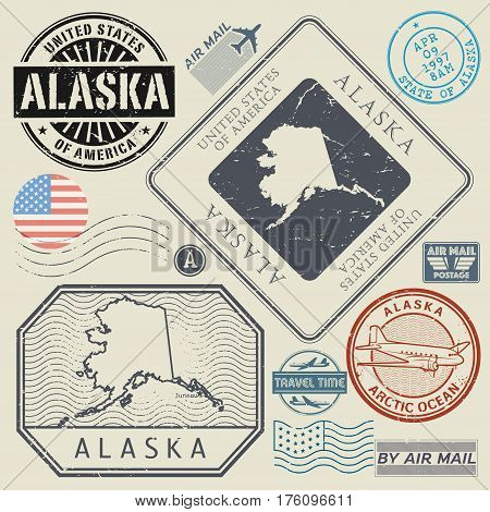 Retro vintage postage stamps set Alaska United States theme vector illustration